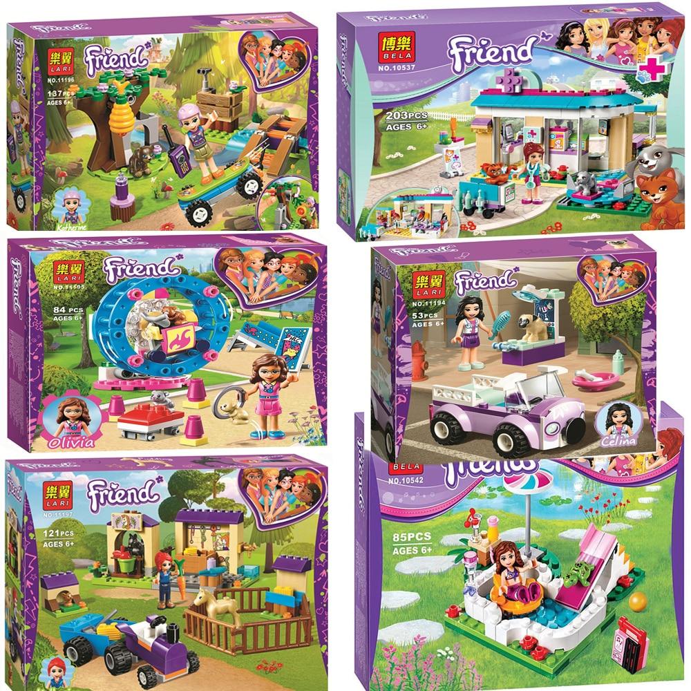 For Lepining Friends Girl Vet Olivia Hamster Playground Mia Forest Adventures Emma Mobile Veterinary Clinic Building Blocks Toys