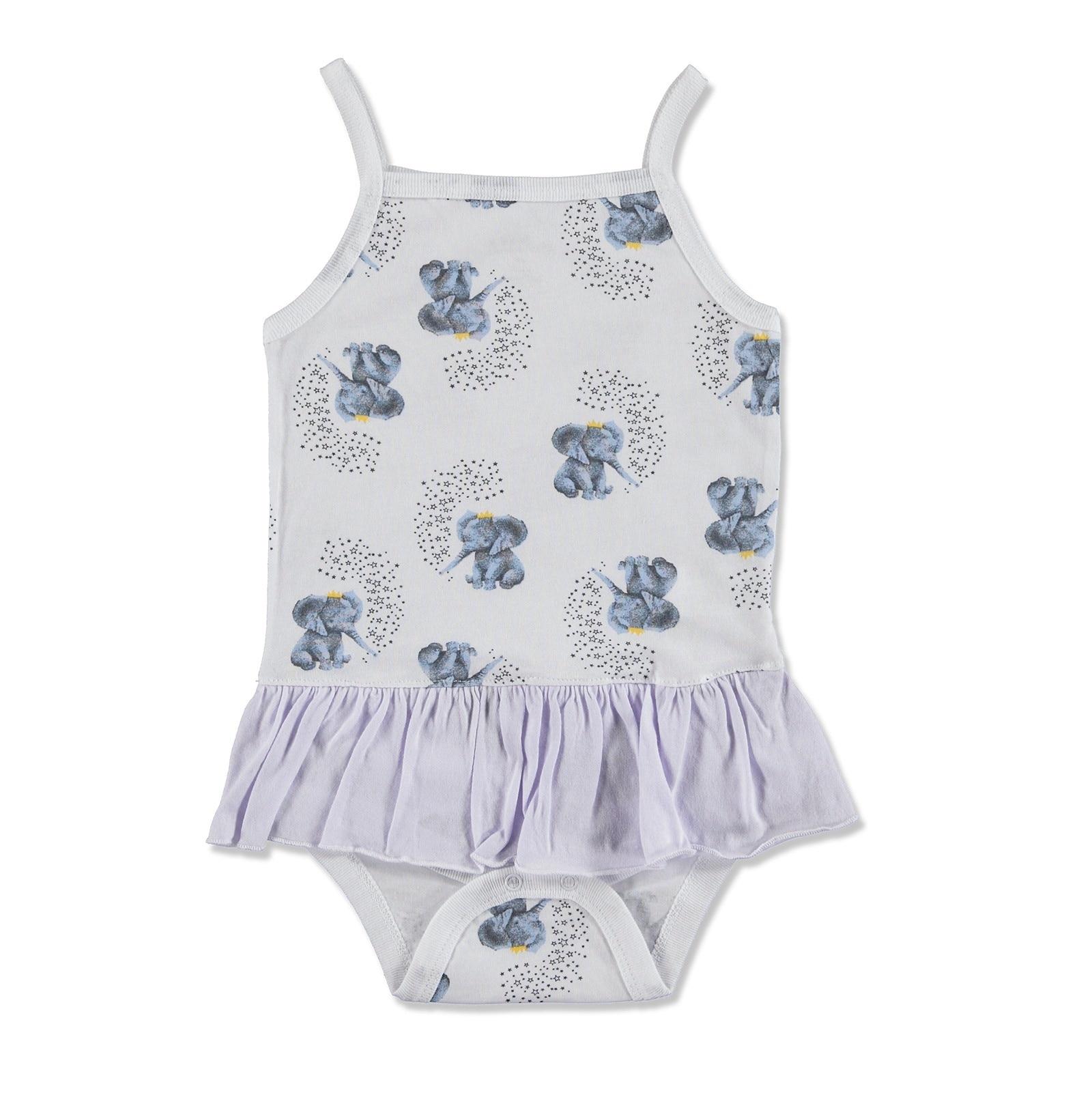 Ebebek Aziz Bebe Summer Baby Girl Elephant Supreme Rope Strap Bodysuit