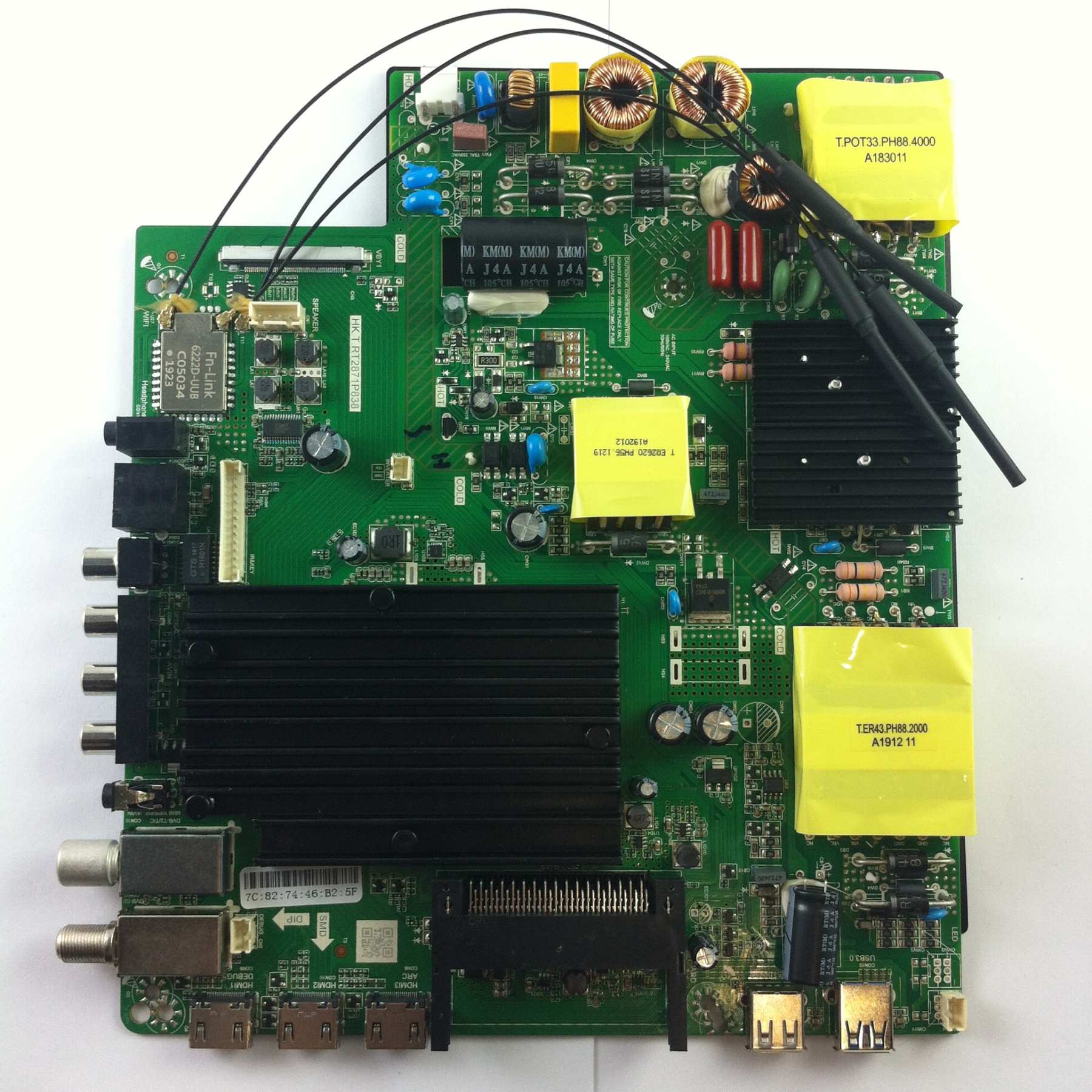 Материнскя плата HK.T.RT2871P838 телевизора DEXP U55E9000Q Б/У с разборки Многослойная PCB   