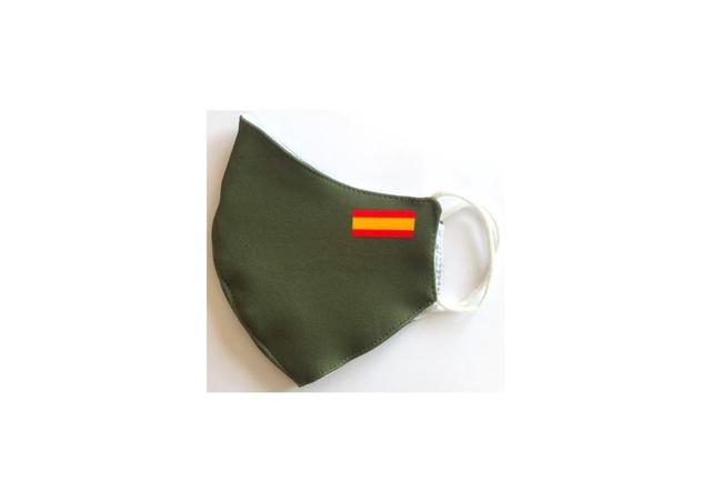 Mascara Flag Spain Green Miltar Higienica Masks fabric 25 washes Homologada standard EU manufactured in Spain Neoprene 2