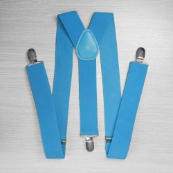 Suspenders for trousers wide (3.5 cm, 3 clips, blue) 52875
