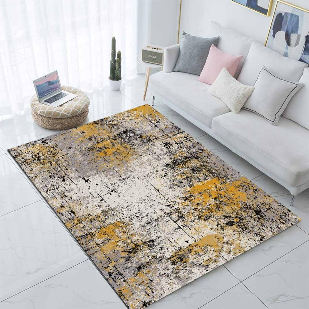 Else Yellow Brown Watercolor Paint Splash Nordec 3d Print Non Slip Microfiber Living Room Modern Carpet Washable Area Rug Mat