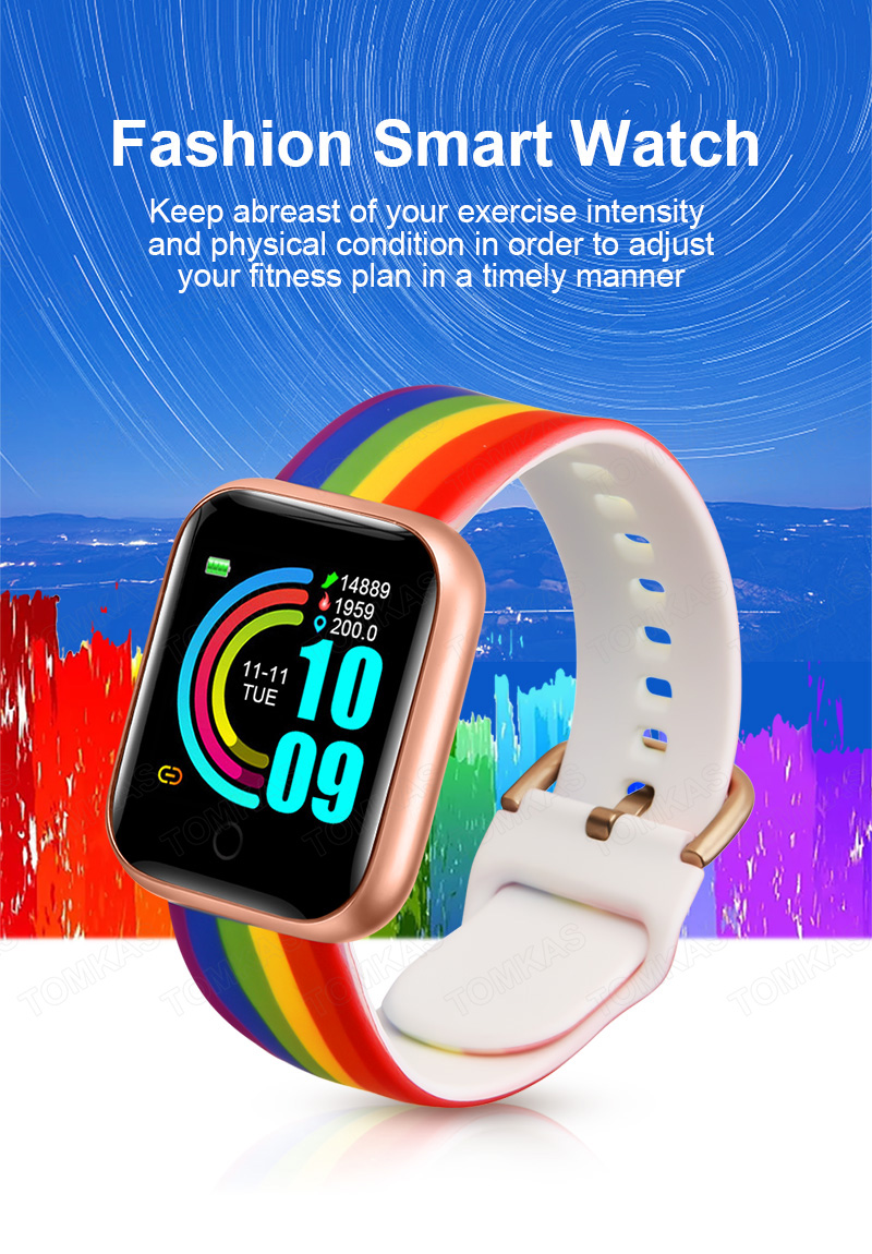 Bluetooth Smart Watch Men Kids Smartwatch 2020 Rainbow Wrist Women's Watches Sport Fitness Bracelet Tracker For Xiaomi Android