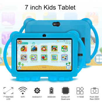 2021 New Android kids learning educational gift tablet Kids Tablet 7 inch HD with silicone case charging
