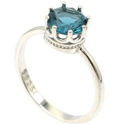 7x7 мм элегантные 2,0g создана темно Лондон Голубой топаз подарок для девочек 925 Твердое Серебряные кольца оптом
