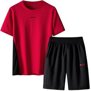 Image 4 - Respirant hommes survêtement été hommes 2 pièces ensemble à manches courtes t shirt de course t shirts Shorts ensemble de vêtements de sport hommes hommes ensemble de vêtements