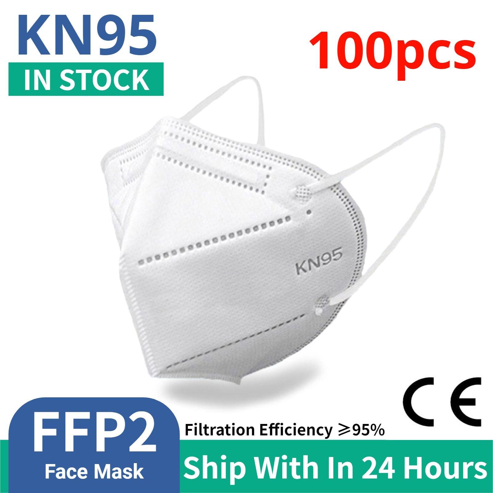Masque de protection FFP2, 5 couches, avec filtre 100, respirateur, jetable, certifié CE, 1 à 95% pièces