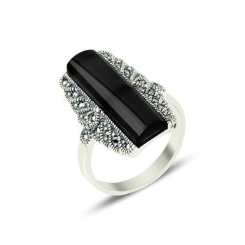 Silver 925 Sterling Marcasite & Onyx Gemstone Ring