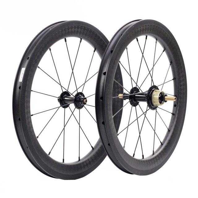 """Silverock عجلات الكربون 16 """"1 3/8"""" 349 ريم الفرامل 38 مللي متر الفاصلة 1 3S ل Brompton 3 ستين للطي دراجة مخصصة دراجة العجلات"""