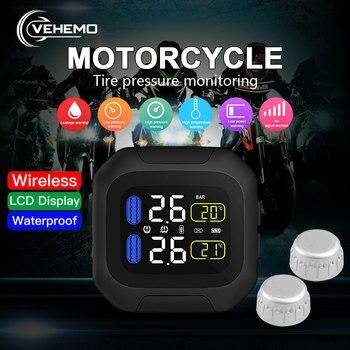 VEHEMO Tire Pressure Alarm Motorbike TPMS Tire Pressure Monitoring System USB Interface Wireless 2PCS Sensor Time Display
