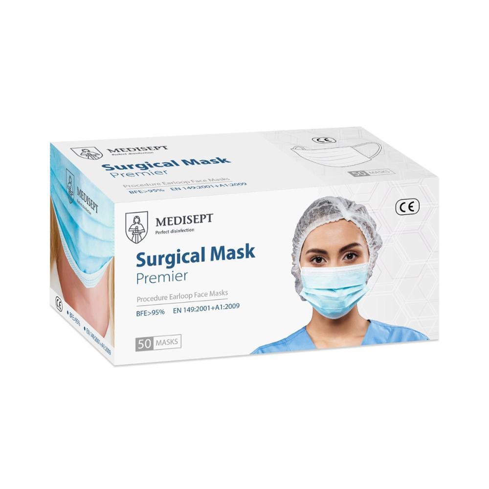 MEDISEPT Surgical Medical Mask ONE BOX 50 MASKS BFE 3 PLY CE Certificate