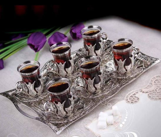 Turkish Silver tea set with Six Personality for ten Nine pieces silver Turkish tea glass set and rectangular serving tray