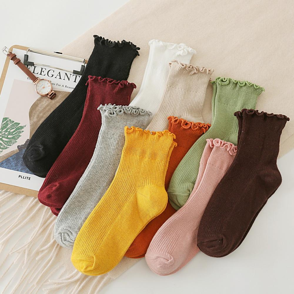 Women Cotton Socks Solid Color Socks Set Cute Socks Lace Pile Socks Spring Breathable Sweat Absorbent Anti Friction Socks