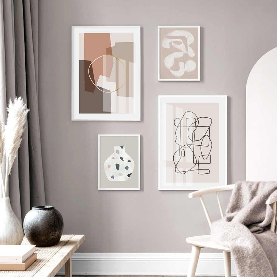 현대 추상 라인 아트 인쇄 갤러리 번트 오렌지 캔버스 회화 벽 그림 포스터 인쇄 거실 홈 인테리어