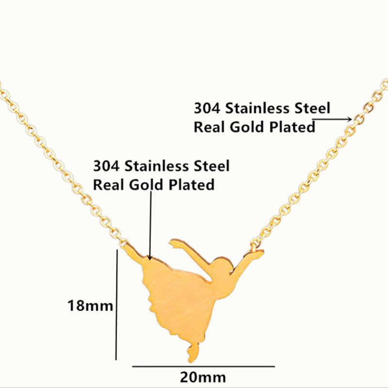 Ballerina Necklace Woman Ballet Pendant Chain Necklace Gold Stainless Steel Charm Surprise Jewelry collares de moda 2019
