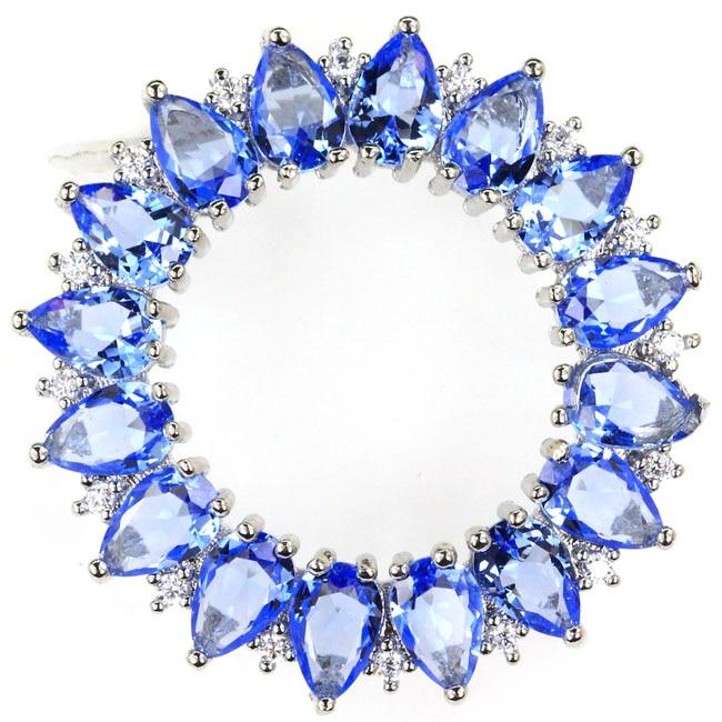 31x31mm Gorgeous 5.6g Moon Shape Violet Tanzanite Tourmaline Blue Topaz CZ Woman's Real 925 Solid Sterling Silver Pendant