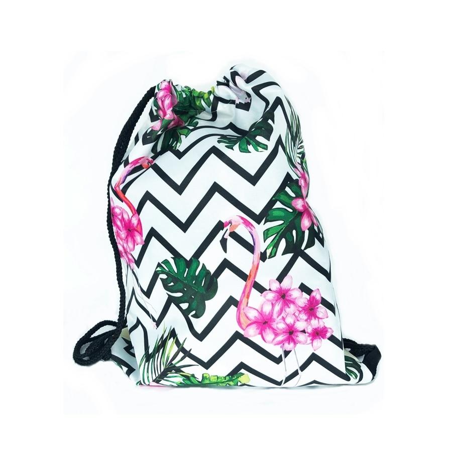 Mochila De Cuerdas Para Mujer, Color Verde Con Estampado De Piñas Y Flores, 100% Poliéster.