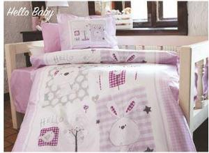 Rabbit Purple Flannel Baby Duvet Cover Set 4 Pcs 100% Cotton Flannel Fabric for Winter Use Keeps Warm Newborns Sheet pillow Case
