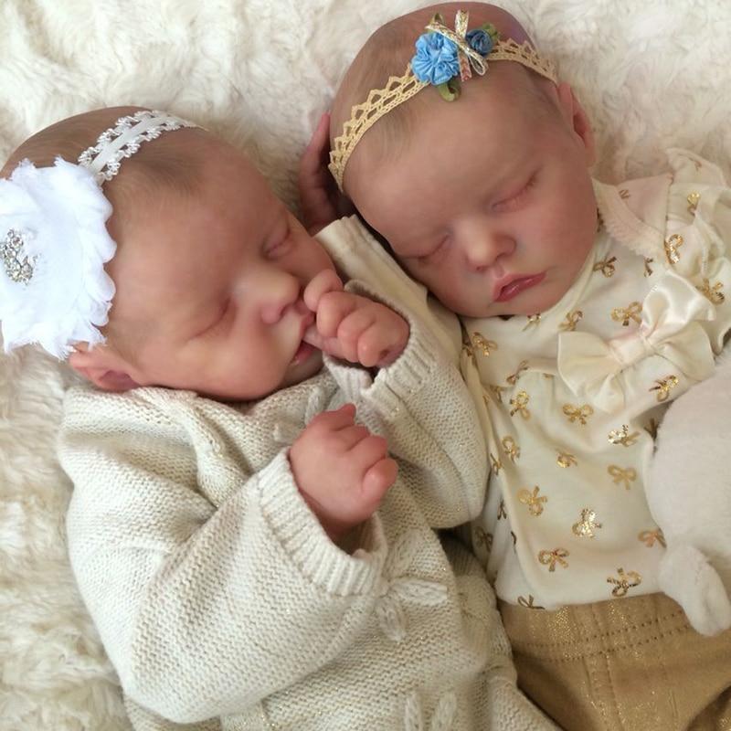 RSG 17 zoll DIY Blank Reborn Baby Puppe Teile Premie Baby Twin EINE Twin B Schlafen Baby Unfinished DIY Blank puppe Vinyl Kit