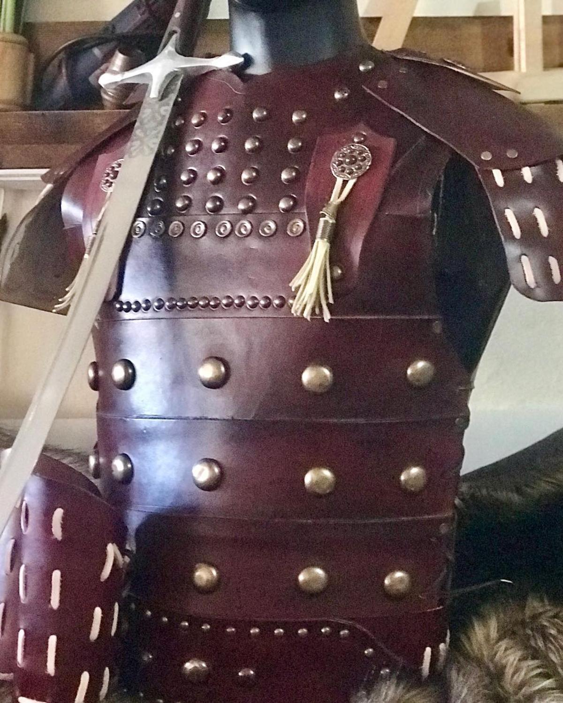 Leather Warrior Armor Belt Bracers Set Costume Claret Red Motif Ottoman Turkish Warrior Armor