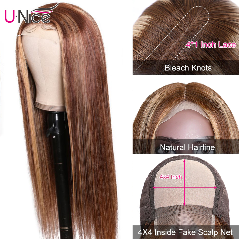UNice Hair Highlight Wig  Straight  Wigs Piano Honey Blonde Babylights Wig 150% Density 4X1 Lace Part Wig 3