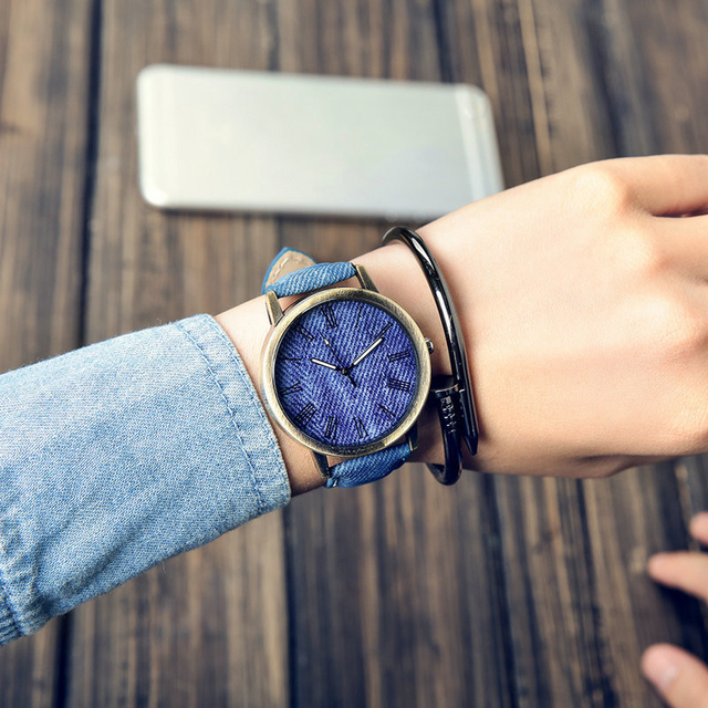 MEIBO Relojes Women Quartz Watches Denim Design Leather Strap Male Casual Wristwatch Relogio Masculino Ladies Watch female watch 1