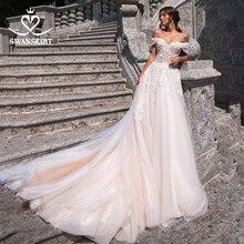 Peri aplikler A Line düğün elbisesi sevgiliye kapalı omuz uzun tül mahkemesi tren Swanskirt GI18 gelin kıyafeti Vestido de novia
