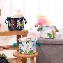 Comfortable Cotton Linen Sundries Storage Box Bathroom Accessories Toiletries Cosmetic Organizer Cartoon Desktop Storage Baskets
