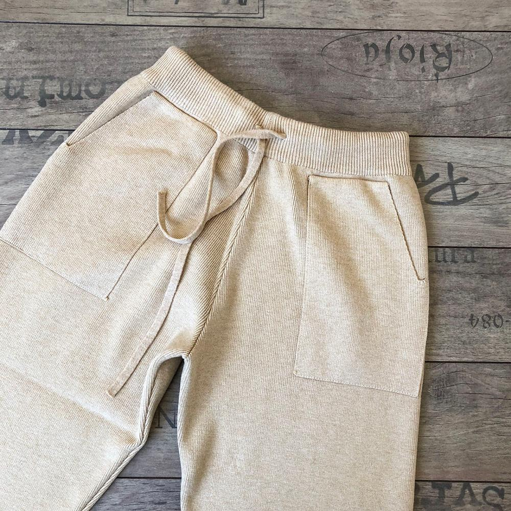 Women Elastic Waist Drawstring Trousers Thick Knitted Harem Pants Autumn Winter Sport Swear Women'S Pants New Bottoms photo review