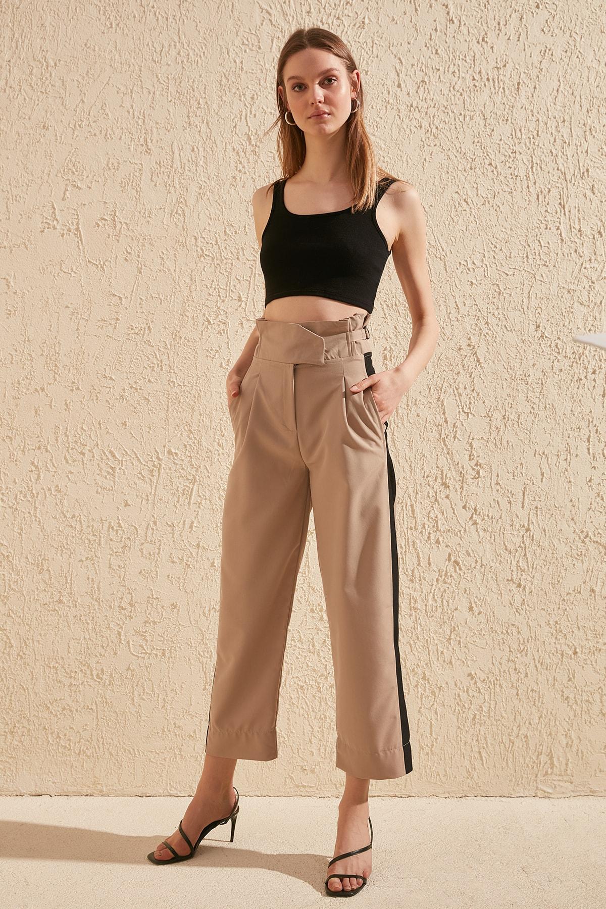 Trendyol With Color Block Pants TWOSS20PL0147