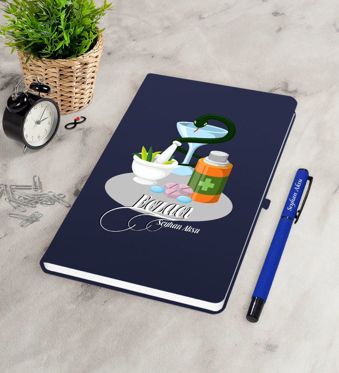 Personalized Pharmacist Navy Blue Notebook Pen Seti-6