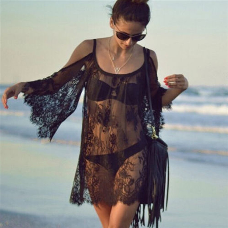 Sexy Lace Bikini Cover Up Women Cover Up Dress Vestido Casual Swimsuit Lace Women Beachwear White Black