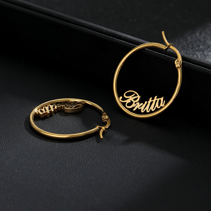 Custom name Earrings hoop Silver Gold Stainless Steel Customized Personalized Earrings Name Hoops Bridesmaid Gift Mother's Gift