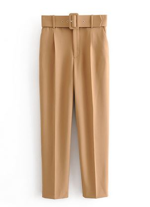 GIL0547 New Womens Casual Purple M002 Pant Capris With Belt High Waist Yellow Chic Office Lady Pant