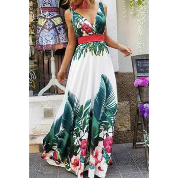 Sleeveless Floral Print OL Dress Boho Style Dresses Woman Clothing Color: V-neck Floral B Size: M