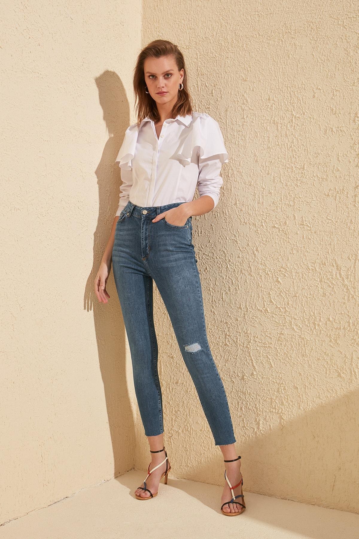 Trendyol Yırtıklı Pettitoes Discrete High Waist Skinny Jeans TWOSS20JE0110