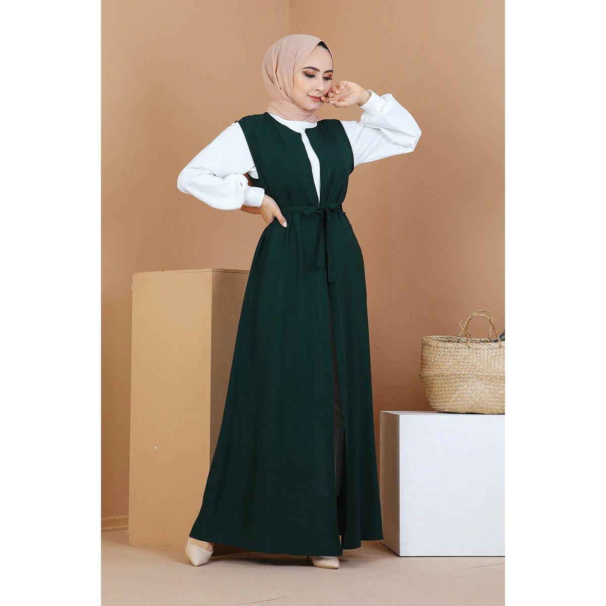 Belt detailed Vest Haki,Muslim fashion, Vest for Muslim woman,2021 Woman foshion,Young muslim woman fashion,Women vest.