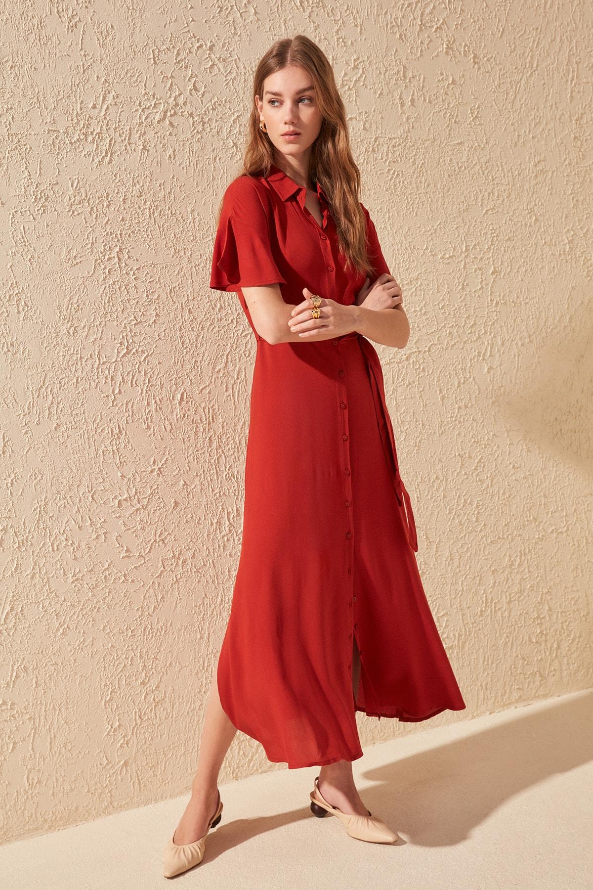 Trendyol Belted Shirt Dress TWOSS20EL0829