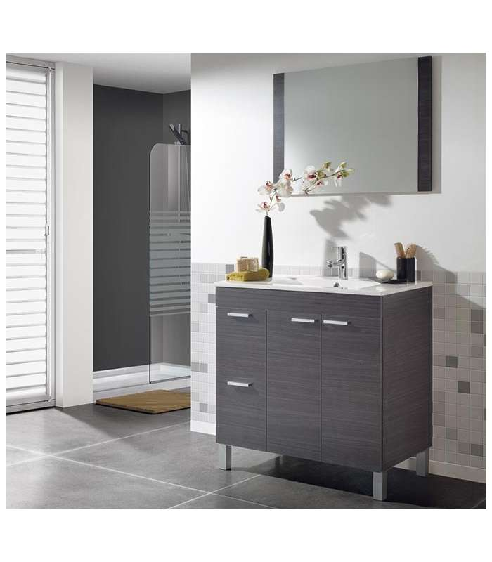 Cabinet 80cm Width With Sink And Mirror In Ash Gray