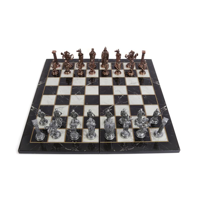 Royal British Army Antique Copper Metal Chess Set For Adults, Handmade Pieces And Marble Design Wood Chess Board King 8 Cm