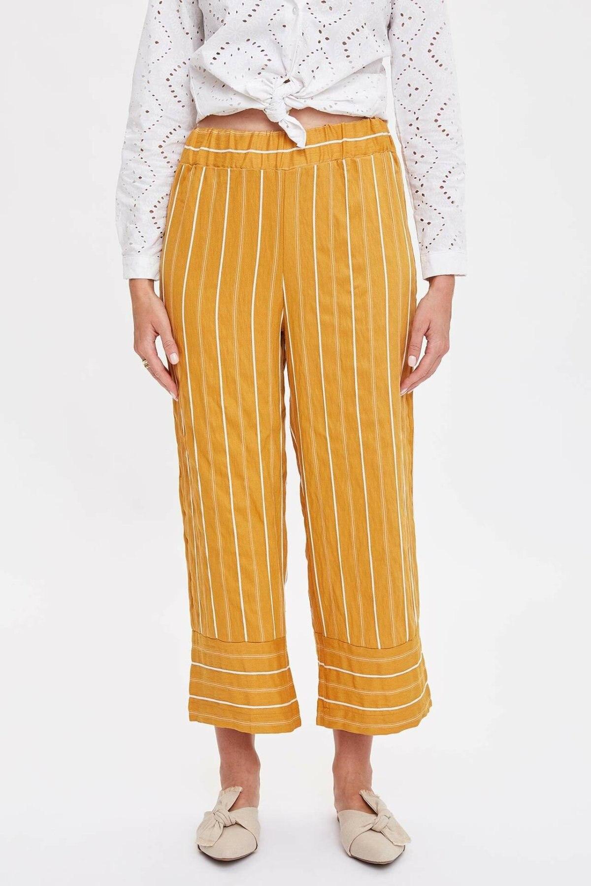 DeFacto Woman Wide-leg Ninth Pants Women Striped Loose Bottoms Women Yellow Orange Color Woven Trousers-M0403AZ19SM