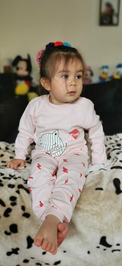 New Kids Boys Girls Pajama Sets Cartoon Print Long Sleeve O-Neck T-Shirt Tops with Pants Toddler Baby Autumn Sleeping Clothing photo review