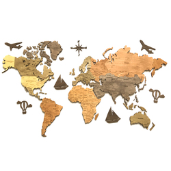 World map of wood istolarka English version decor wall home decoration for office living room