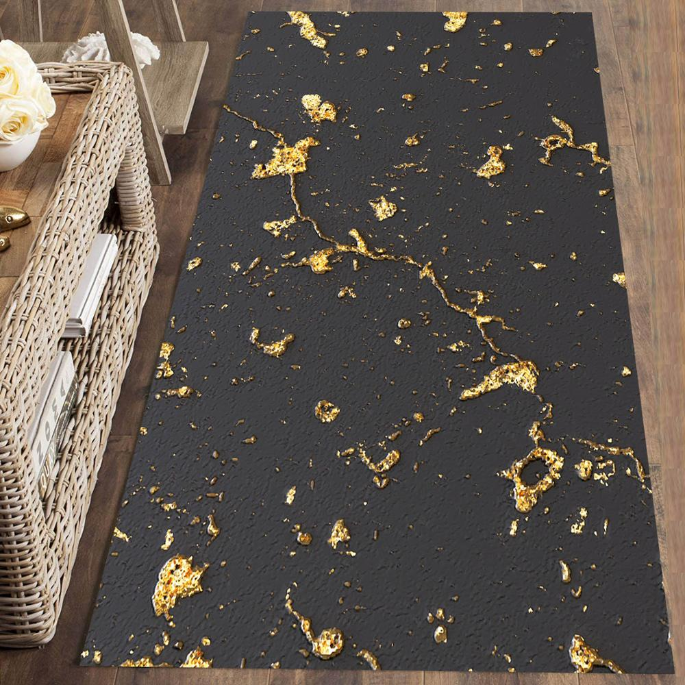 Else Black Golden Yellow Modern Scandinav 3d Print Non Slip Microfiber Washable Long Runner Mat Floor Mat Rugs Hallway Carpets