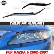 Eyelids for headlights case for Mazda 6 2002 2007 ABS plastic pads cilia eyebrows covers accessories car styling tuning