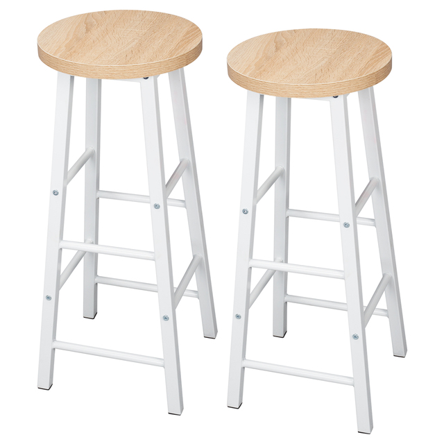 2PCS/SET Solid Wood High Bar Stools Bistro Stool Stable Durable Steel Structure MDF Seat Surface Coffee Chair Home Decor Stool
