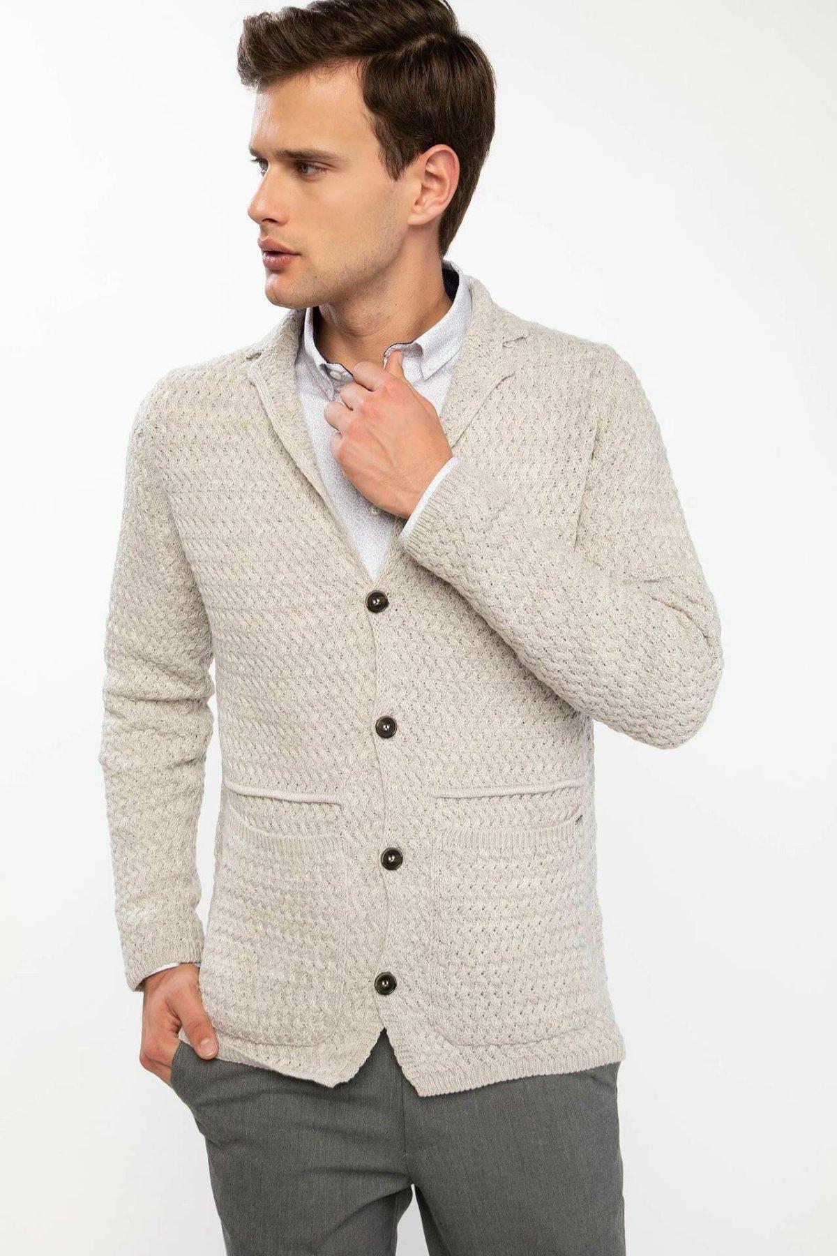 DeFacto Man Beige Knitted Cardigan Coats Men Winter Casual Long Sleeve Top Cardigans Male Tops / Bolero-J3400AZ18WN