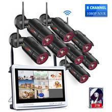 Anrun 1080P 8CH الرئيسية CCTV عدة نظام مراقبة الأمن في الهواء الطلق للرؤية الليلية كاميرا IP واي فاي مع 12 بوصة رصد NVR أطقم