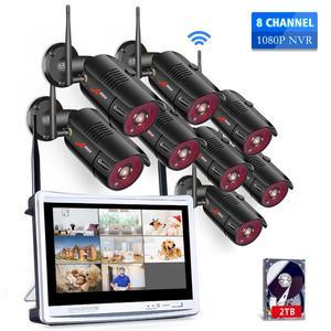 Image 1 - Anrun 1080P 8CH الرئيسية CCTV عدة نظام مراقبة الأمن في الهواء الطلق للرؤية الليلية كاميرا IP واي فاي مع 12 بوصة رصد NVR أطقم