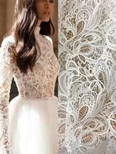 Robe de mariée en dentelle Guipure 1 Yard, robe de mariée Boho Alencon, tissu blanc cassé, dentelle cousue au Crochet, largeur 140cm